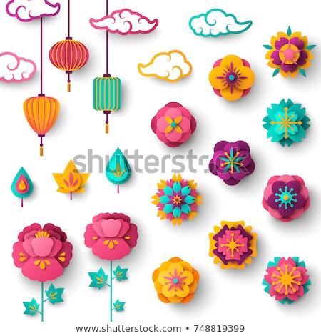 çiçek Çin stil Asya origami Stok fotoğraf © robuart