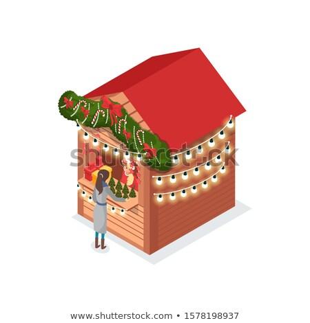 Natale fiera signora acquisto artificiale pino Foto d'archivio © robuart