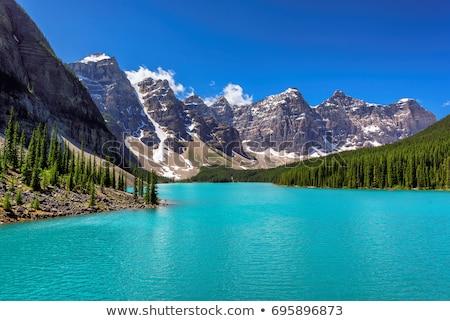 Naplemente park hó hegy utazás vízesés Stock fotó © benkrut