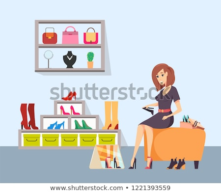 Female Shopaholic Wearing Shoes in Store Vector Stock photo © robuart