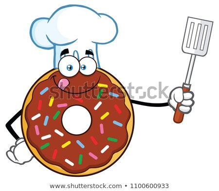 Chocolate Chef Donut Cartoon Character With Sprinkles Holding A Slotted Spatula Stock photo © hittoon