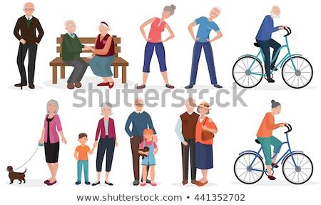 счастливым старший характер дедушка и бабушка набор вектора Сток-фото © pikepicture