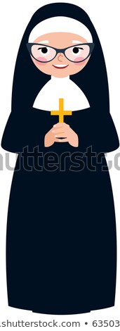 Elderly catholic nun in traditional monastic clothes with a cros Stock photo © UrchenkoJulia