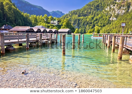 Konigssee Alpine lake wooden village coastline view Stock photo © xbrchx