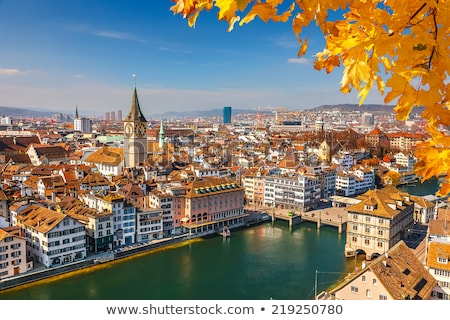 Rivier Zürich Zwitserland stad kerk Stockfoto © borisb17
