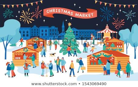 plantilla · de · diseño · invierno · ataviar · forestales · Navidad · folleto - foto stock © decorwithme