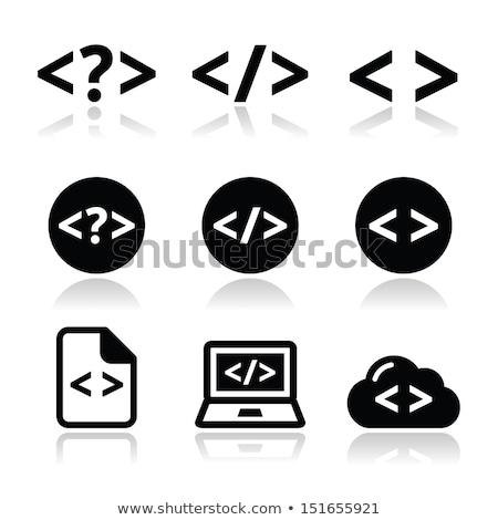 Codering document cirkel icon lang schaduw Stockfoto © Anna_leni