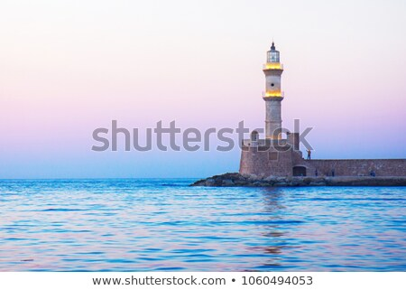 lighthouse of Chania at pink sunset, Crete Stock photo © neirfy