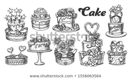 Születésnapi torta díszített csillagok retro vektor születésnap Stock fotó © pikepicture