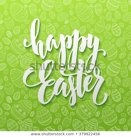 green happy easter festival celebration card design Stock photo © SArts