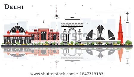 Délhi linha do horizonte cor edifícios blue sky reflexões Foto stock © ShustrikS