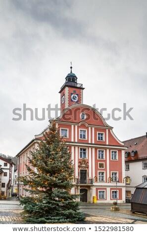 Belediye binası Almanya pazar kare gökyüzü ağaç Stok fotoğraf © borisb17