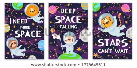 Cute cosmonaut cartoon character on deep space background Stock photo © evgeny89
