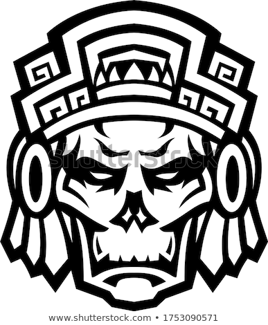 Guerrero cráneo frente mascota blanco negro icono Foto stock © patrimonio
