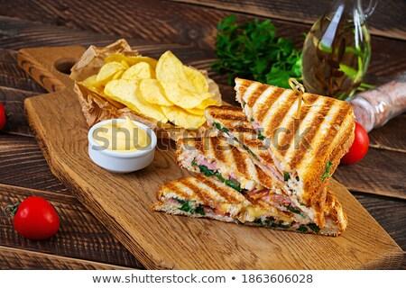 Lezzetli ev yapımı kulüp sandviç basit muhteşem sandviç Stok fotoğraf © Peteer