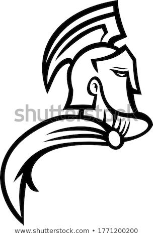 Truva savaşçı yandan görünüş maskot siyah beyaz Stok fotoğraf © patrimonio