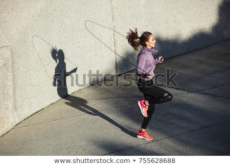 Spor kadın atlama halat boyun hazır Stok fotoğraf © pedromonteiro