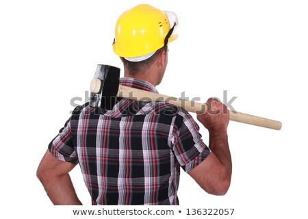 Człowiek sanki młotek drewna metal Zdjęcia stock © photography33