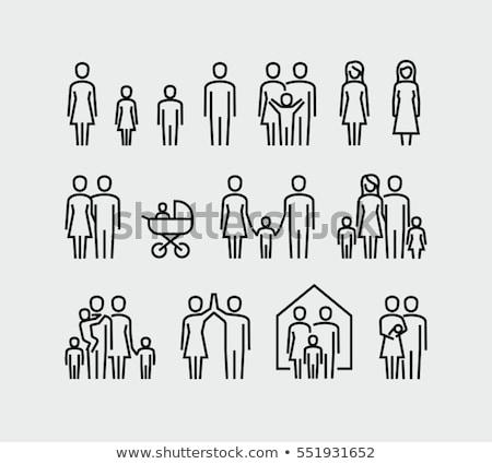 családi · otthon · sziluett · család · ikon · ház · üzlet - stock fotó © glorcza