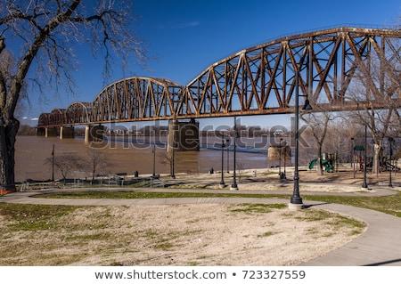 Ohio nehir demiryolu köprü eski gökyüzü Stok fotoğraf © lisafx