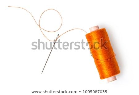 Narancs cséve fonál tű pamut izolált Stock fotó © backyardproductions