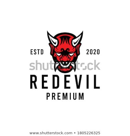 Rood duivel foto naakt meisje witte Stockfoto © dolgachov