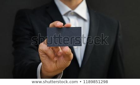 empresário · mostrar · cartão · em · branco · cartão · de · visita · mão - foto stock © photochecker