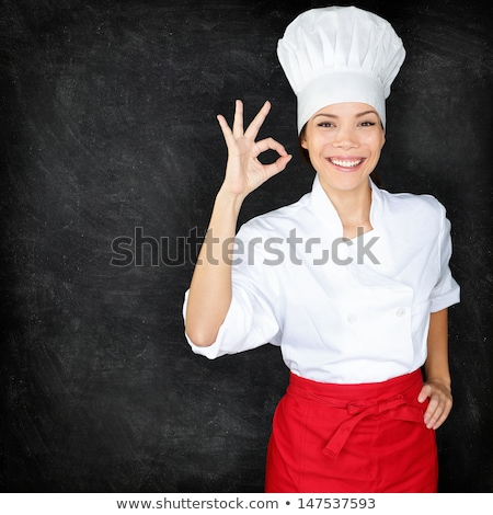 Femminile chef uniforme nero cartellone ritratto Foto d'archivio © wavebreak_media