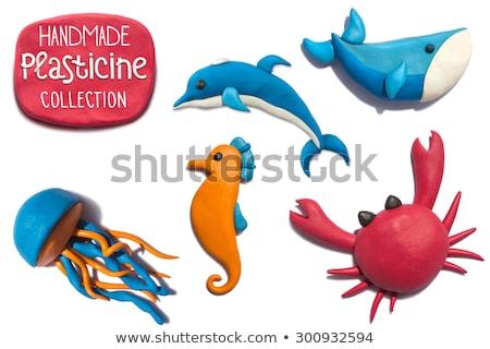 Handmade modeling clay figure with fish Stock photo © Zerbor