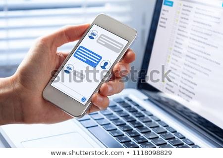 Zdjęcia stock: Technologia · informacyjna · niebieski · arrow · slogan · szary · 3d