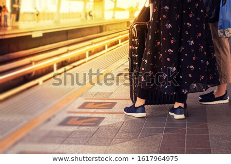 Woman waiting train with suitcase and flowers Stock photo © vetdoctor