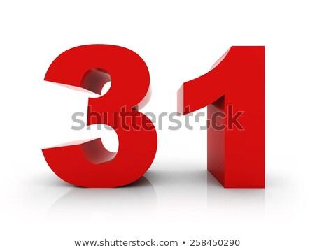 Kırmızı numara 31 yansıma beyaz dizayn Stok fotoğraf © Zerbor