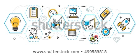 success and strategy in hexagons, flat design Stock photo © marinini
