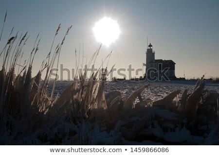 Célèbre phare Pays-Bas au-dessus plage Photo stock © gigra