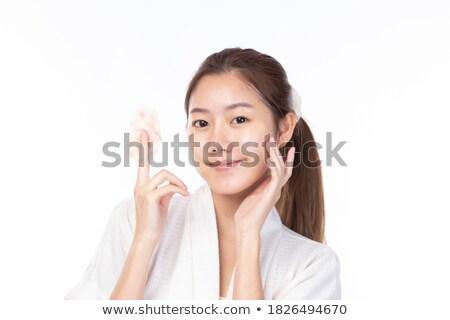 美しい · 若い女性 · 化粧品 · 少女 · 手 · 顔 - ストックフォト © nejron