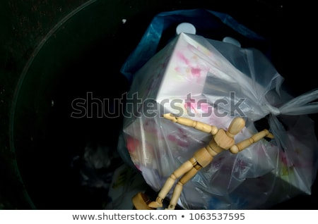 марионеточного · бумаги · мусорное · ведро · фон · стали - Сток-фото © compuinfoto