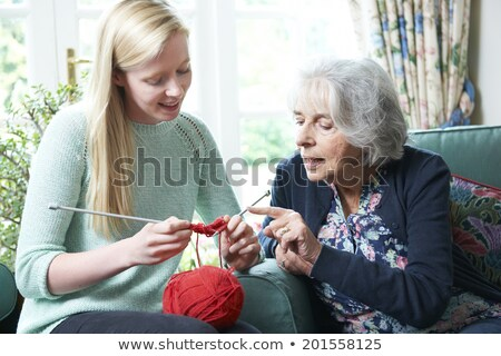 Grandmother Showing Granddaughter How To Knit Stock photo © HighwayStarz