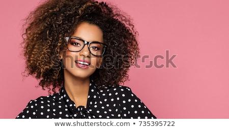 Happy Woman in Black Shirt and White Eye Wear Stock photo © dash