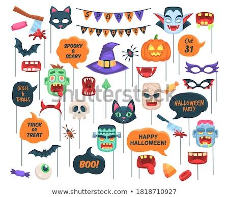 Desenho animado vampiro cara balão de fala mão projeto Foto stock © lineartestpilot