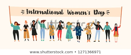 Día de la mujer ilustración mujeres feliz naturaleza pradera Foto stock © adrenalina