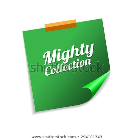 Potężny kolekcja zielone karteczki wektora ikona Zdjęcia stock © rizwanali3d