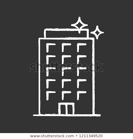 Residential building icon drawn in chalk. Stock photo © RAStudio