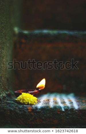 Güzel yaprak kil lamba el yapımı Stok fotoğraf © ziprashantzi
