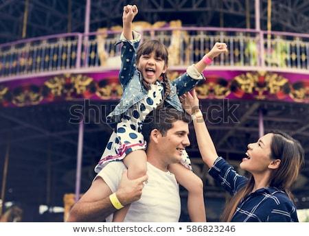 Rodziny wesołe miasteczko ilustracja dziewczyna noc zabawy Zdjęcia stock © adrenalina