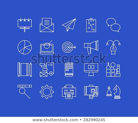 laptop · infográficos · tela · azul · on-line - foto stock © rastudio