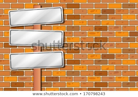 Empty signages in front of the stonewall Stock photo © bluering