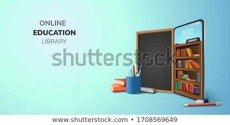 digital · biblioteca · projeto · on-line · livraria · telefone - foto stock © tandaV