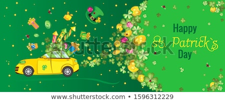 trébol · hojas · dorado · monedas · verde · marco - foto stock © orensila
