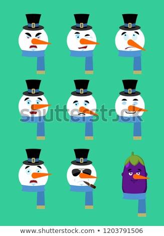 クリスマス · 雪だるま · アバター · 赤 · 笑みを浮かべて · 着用 - ストックフォト © popaukropa