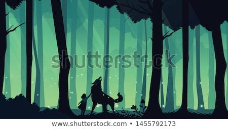 Weinig Rood paardrijden cartoon scène Stockfoto © Krisdog